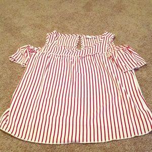 NY&C Striped Sleeve Cutout Blouse Sz M
